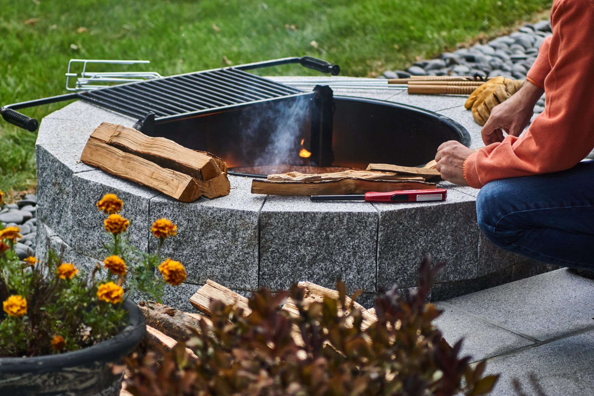 Woodbury Gray Fire pit 1369 | Swenson Granite | 100% ...