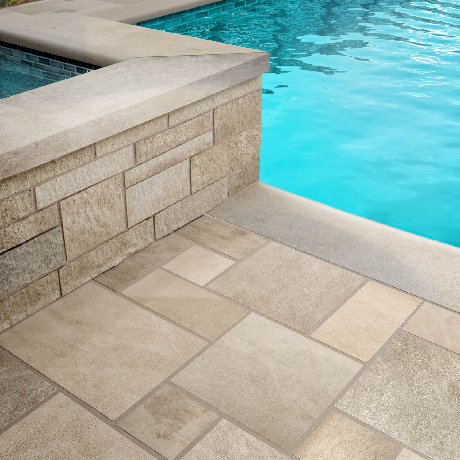 Full Color Blend Indiana Limestone pavers