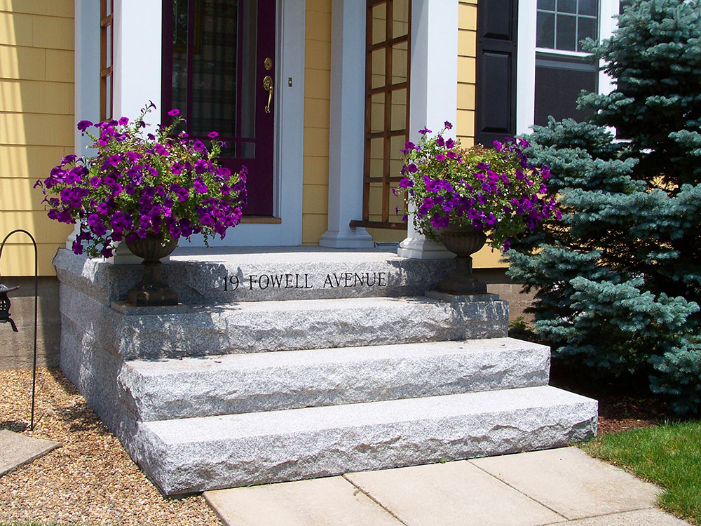 Woodbury Gray granite steps, engraved address step, stoop, entry steps, granite step engraved