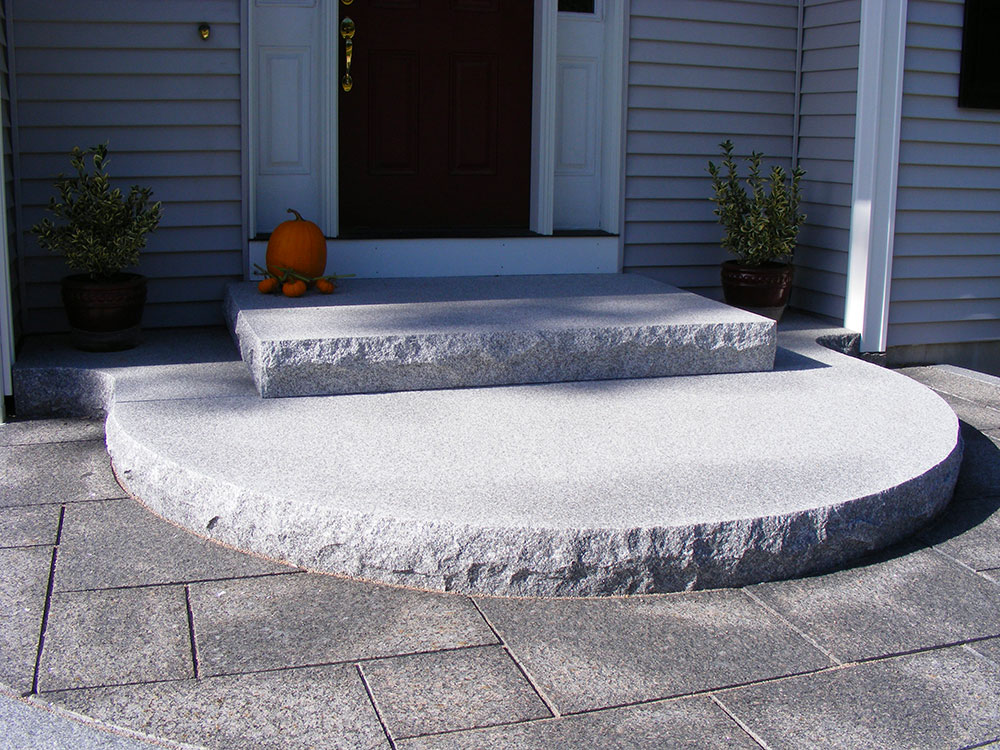 Woodbury Gray granite steps, radius step, entry steps, Swenson Granite Works