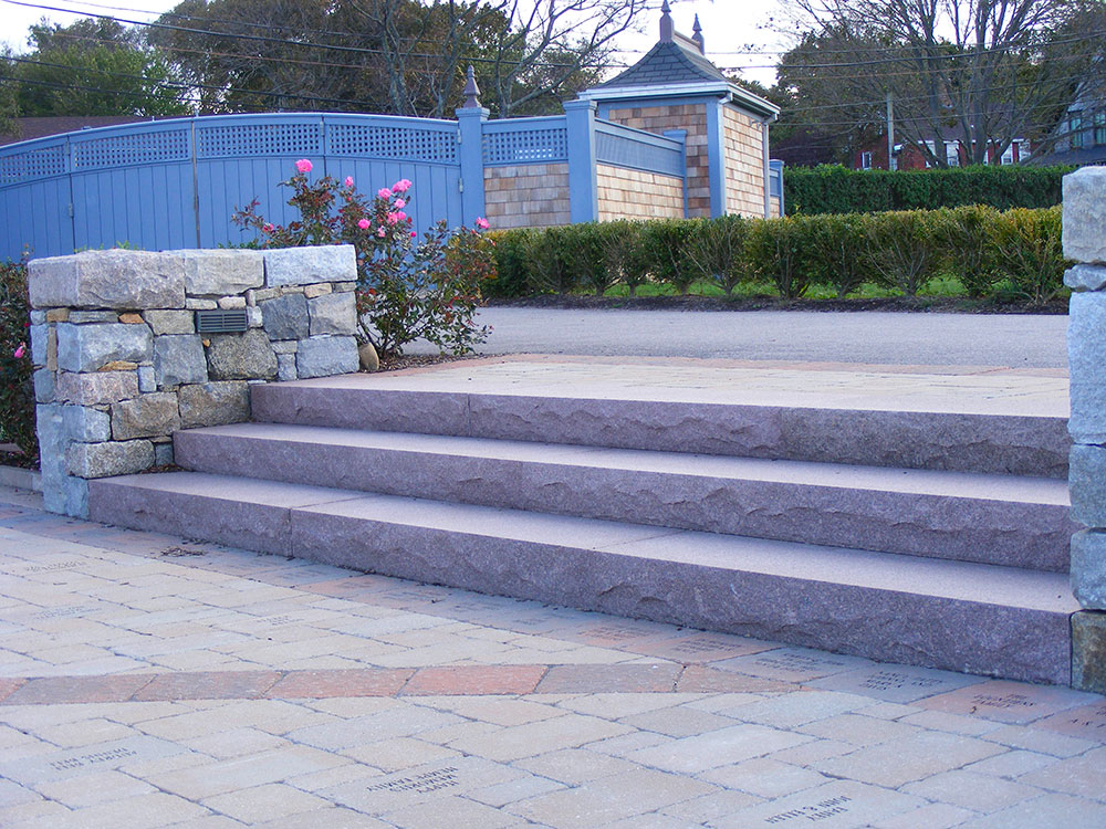 Autumn pink granite steps, rock pitch granite steps, Swenson Granite Works