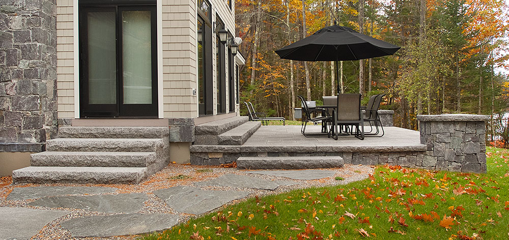 Caledonia granite steps, lakehouse retreat, outdoor living, patio