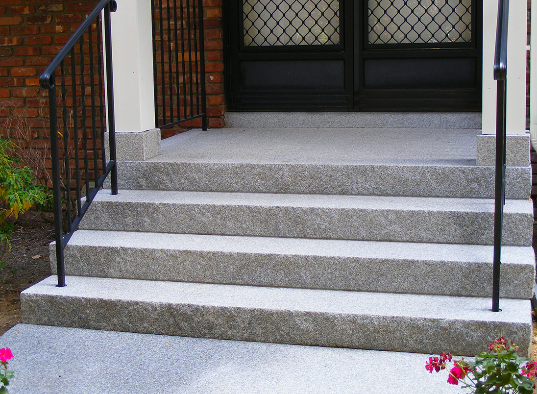 granite steps, stoop, entry steps, Concord Gray steps